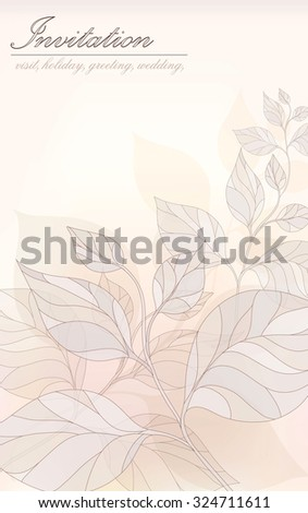 Vector card - an invitation stylized leaves in pastel colors