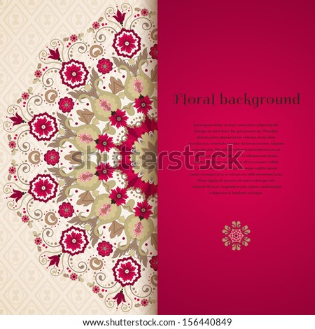 Vector card. Beautiful round floral pattern in vintage style. Seamless simple delicate ornament. Place for your text. Perfect for greetings, invitations or announcements - stock vector