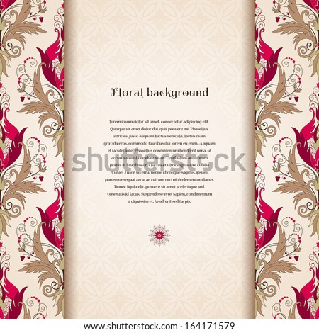 Vector card. Border with floral vintage pattern. Beautiful flowers with leaves and berries. Seamless simple delicate ornament. Place for your text. Perfect for greetings, invitations or announcements - stock vector