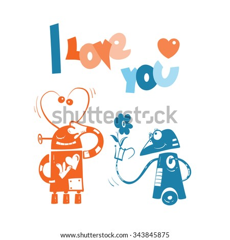 Vector card by Valentine's Day with two robots in love. - stock vector