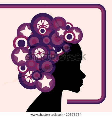 Vector card design of woman silhouette with retro circle hair - stock vector