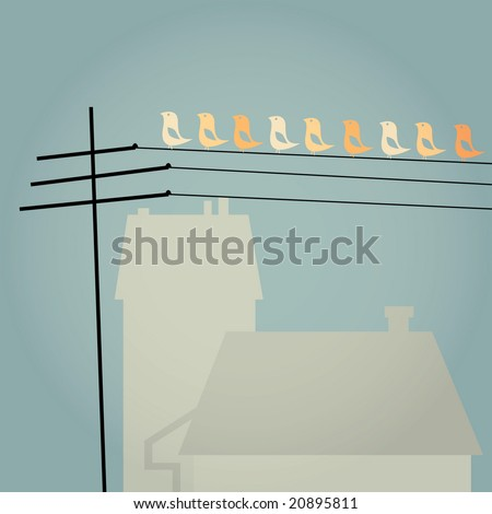 Vector card design with a row of birds on telemast with houses in the background