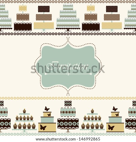 Vector card design with decorative cakes in vintage colors.  - stock vector
