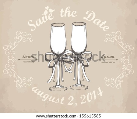 Vector card design with hand drawn  wedding champagne glasses on aged background. - stock vector