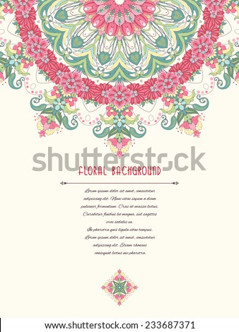 Vector card. Floral round pattern. Place for your text. Delicate green and pink. - stock vector