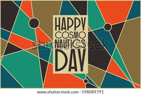 vector card for cosmonauts day april 12 mid century retro styled abstract background with