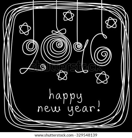 Vector card - 2016 happy new year! Hand drawn childish background with Christmas balls, stars, frame of doodles. Festive illustration for print, web - stock vector