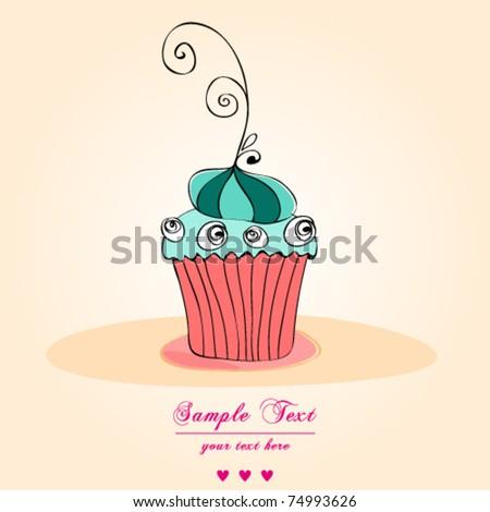 Vector card. Illustration of cute retro cupcake - stock vector