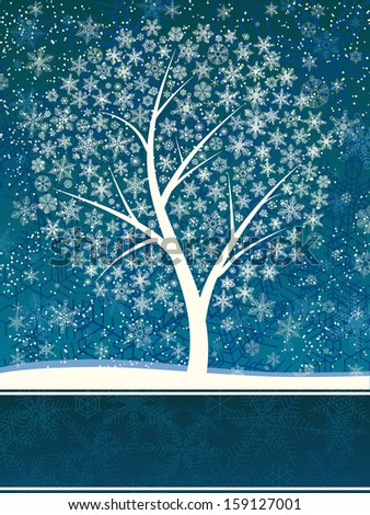 Vector card illustration of winter tree from snowflakes with space for text. - stock vector