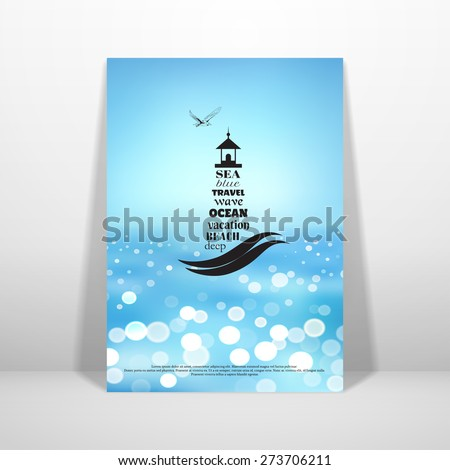 Vector card in marine style. The emblem of lighthouse and seagull. Background with sea. Place for your text. - stock vector