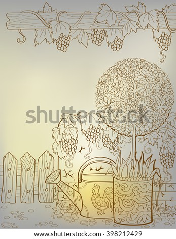 Vector card in provence style with flowers, vines with space for text. Spring in the garden.
