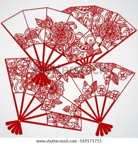 indian hand fan clipart. cutout silhouette decorated with an openwork fan. vintage decorative indian hand fan clipart