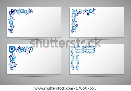 Vector card of traditional folk patterns - stock vector