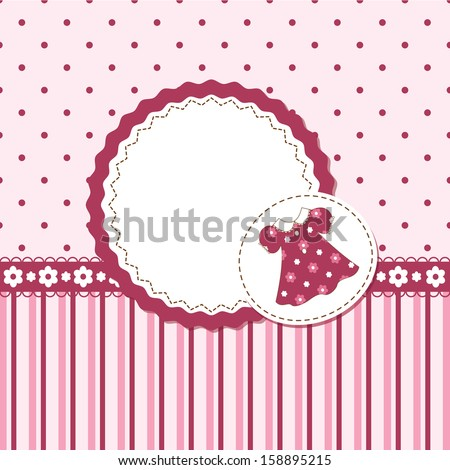Vector card or invitation for baby girl shower or birthday party with stripes ,dress and  polka dots with white space for text.