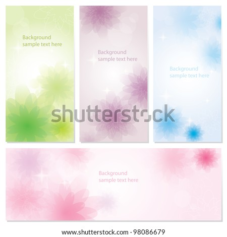 Vector  card set with floral ornament design - stock vector