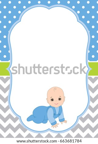 Vector Card Template Cute Baby Boy Stock Vector 663681784