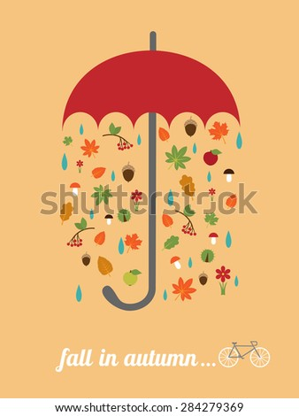 """vector card template with red umbrella, falling leaves, retro bike and slogan """"fall in autumn"""" - stock vector"""