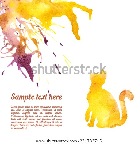 Vector card template with watercolor elements. Beautiful colorful ink stain and cat silhouette with your personalized text. - stock vector