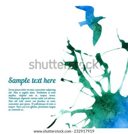Vector card template with watercolor elements. Beautiful colorful ink stain and seagull silhouette with your personalized text. - stock vector
