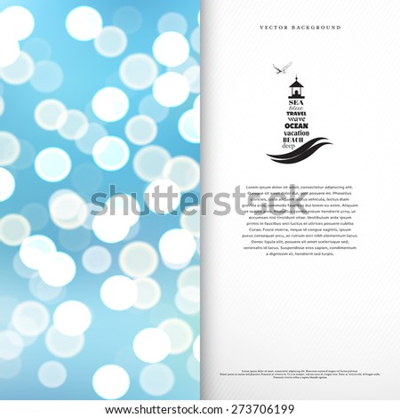 Vector card. The emblem of lighthouse and seagull. Blurred background. Marine style. Place for your text. - stock vector