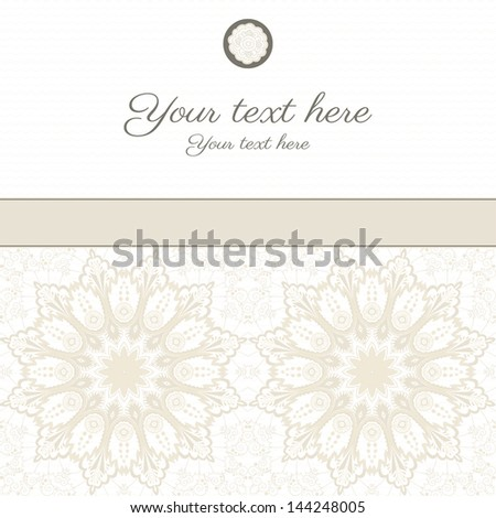 Vector card. Vintage round damask pattern. Place for your text. Perfect for greetings, invitations or announcements.