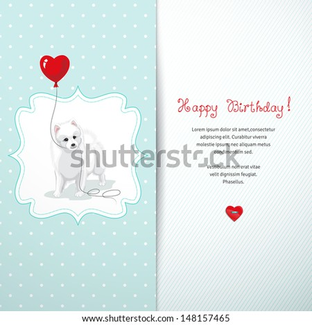Vector card. White Spitz holds a balloon heart. Simple seamless background with polka dots. Beautiful hand-lettering - Happy birthday. Realistic shadow. - stock vector