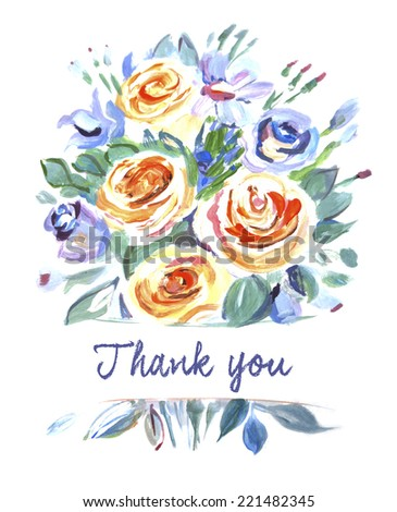 Vector card with a bouquet of flowers. Thank you. Painting. Orange, purple shades. Bouquet of Roses - stock vector
