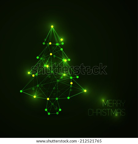 Vector card with abstract christmas tree made from light lines and dots (low poly art) - stock vector