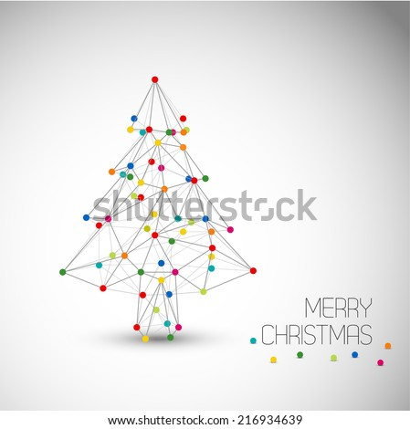 Vector card with abstract christmas tree made from lines and colorful dots (low poly art) - stock vector