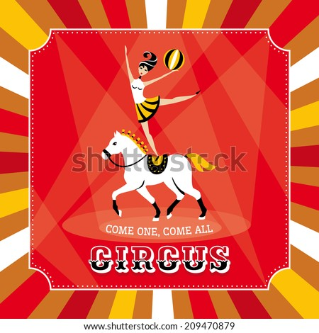 Vector card with acrobat girl on a horse - stock vector