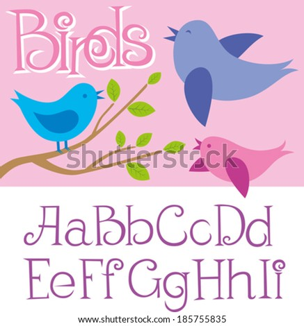 Vector card with birds and alphabet letters - stock vector