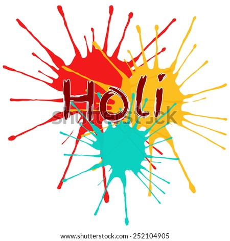 Vector card with blots. Holi festival of colors. - stock vector