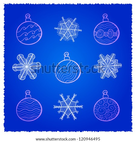 Vector card with Christmas fir tree decorations. Blue variant - stock vector