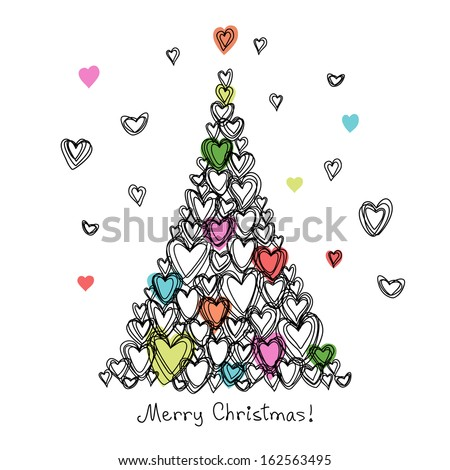 Vector card with christmas tree made from hearts of doodles. Holiday childish hand drawn background. Abstract cute decorative illustration for invitation, greeting in pencil sketch style  - stock vector