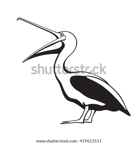 Vector card with cute pelican with its mouth wide open. Sweet pelican character, beautiful design elements. - stock vector