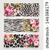 vector card with cute tropical flower mix animal print - stock vector