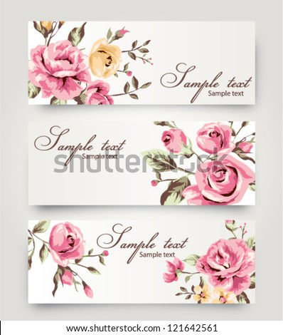 vector card with cute vintage  flower,floral - stock vector