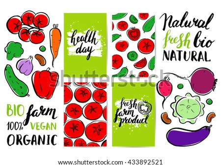Vector card with farm vegetables. Brush hand drawn illustration and inscriptions. Healthy vegetarian food.  Tomato, cucumber. Health Day.  Natural organic product. Logo. Lettering. - stock vector