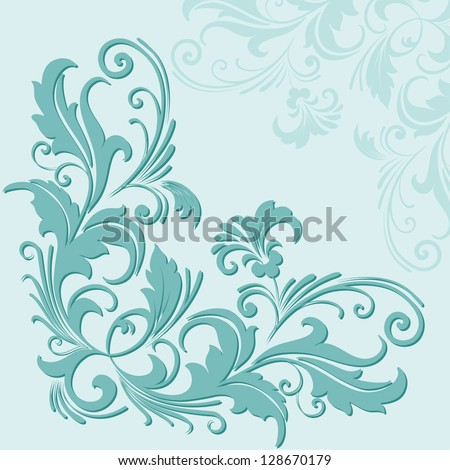 Vector card with floral elements - stock vector