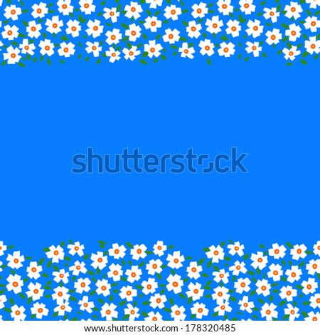 Vector card with floral seamless frame \ border made of small white flowers and copyspace on bright blue. Template for flower shop gift card, spring sale coupon, perfume box design, wedding invitation - stock vector
