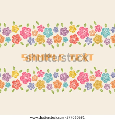 Vector card with flowers of doodles. Seamless pattern. Floral background in hand drawn childish style. Ornamental decorative illustration for print, web - stock vector
