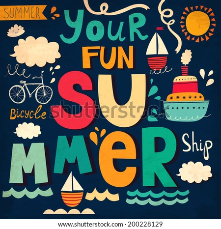 Vector card with funny letters and ships. Bright fun summer background - stock vector