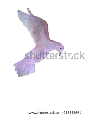 Vector card with hand painted watercolor pigeon flying in the sky - stock vector