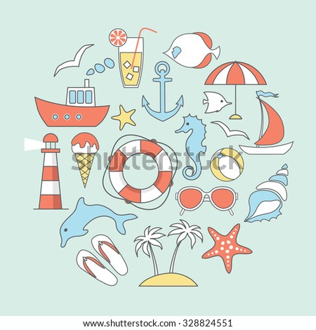 vector card with line flat sea, beach  and vacation  icons