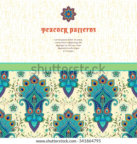 Vector card with oriental floral pattern with peacock feathers and delicate ornament. Place for your text. - stock vector