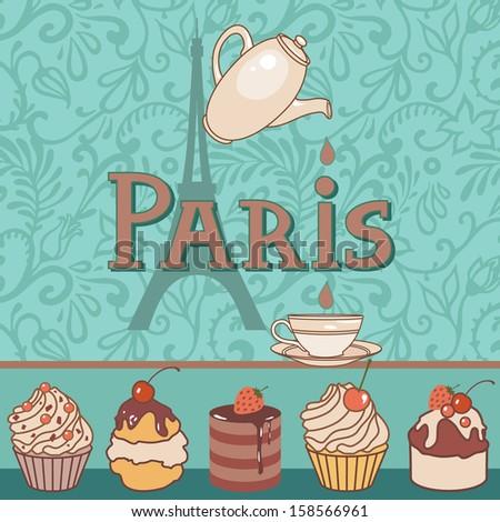 vector card with paris bakery - stock vector