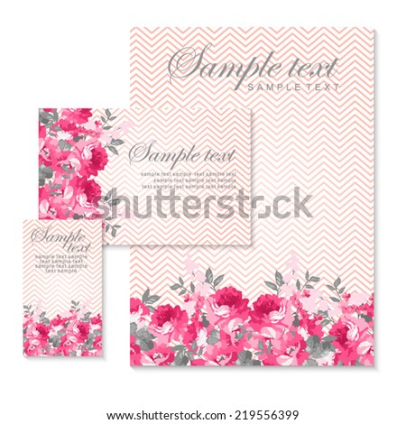 Vector card with pink roses and chevron - stock vector