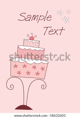 vector card with pink wedding or birthday cake - stock vector