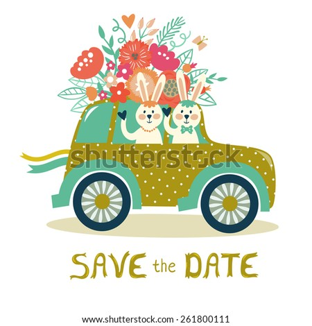"Vector card with retro car, couple of cute bunnies, bouquet of flowers, branches, berries and leaves and hand written text ""Save the date"". Vintage wedding invitation template. - stock vector"
