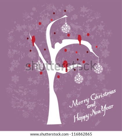 vector card with snow tree and red birds - stock vector